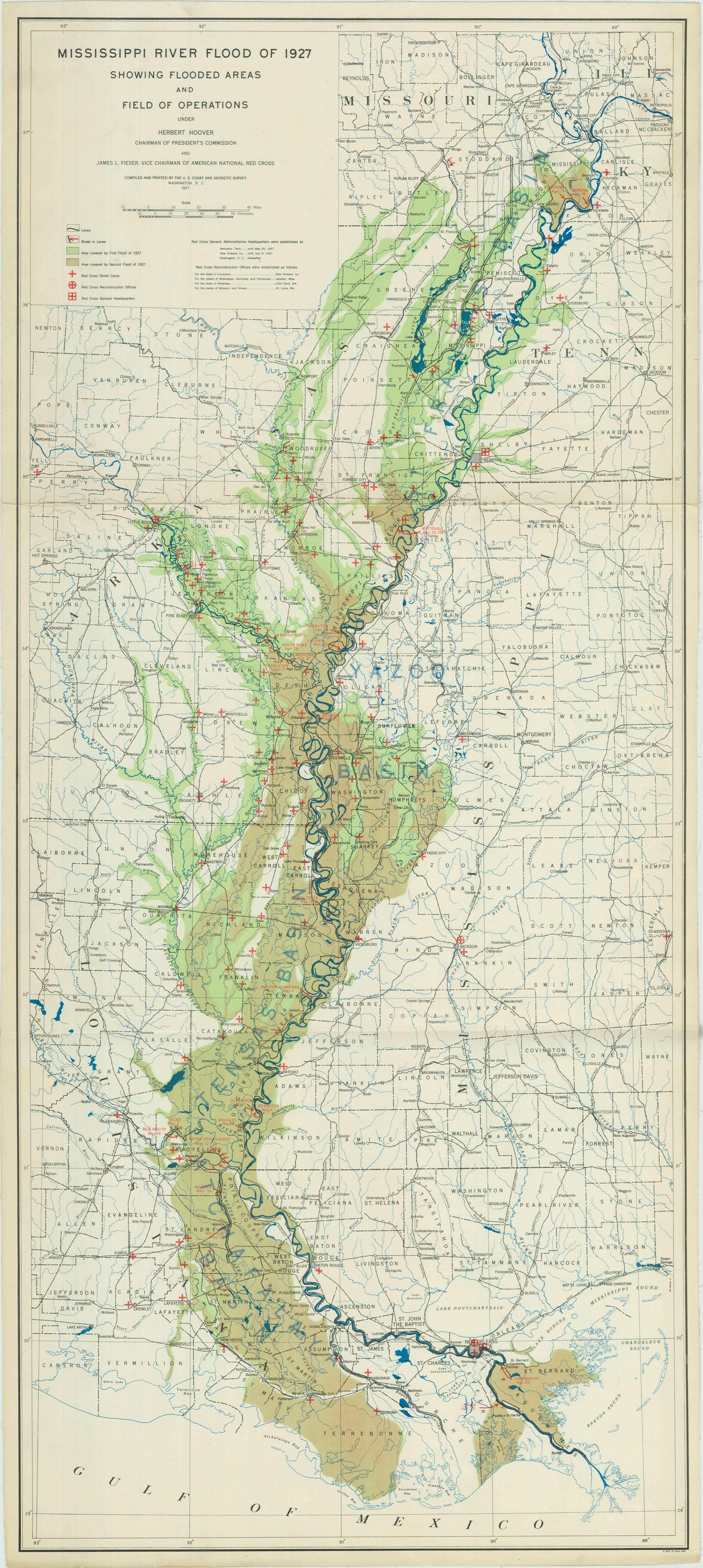 RG 23 Mississippi Flood Map 1927 NAID 2436794