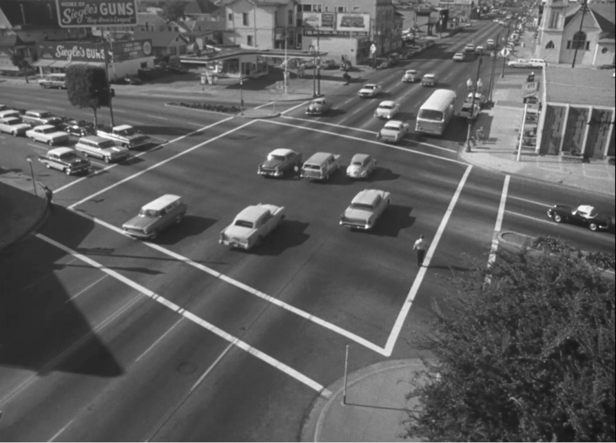 As Jack tries to think through what went wrong when crossing the street, a shot of the previous scene shows it from a high angle that shows the entire intersection and possible hazards. For Jack to be able to orient himself and travel alone, he will need to mentally construct spaces in a similar manner.