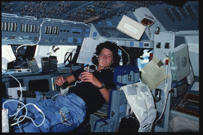 Mission Specialist (MS) Ride at forward flight deck pilots stations controls.