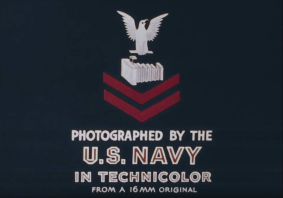 """Title card reading """"Photographed by the U.S. Navy in Technicolor from a 16mm original"""""""