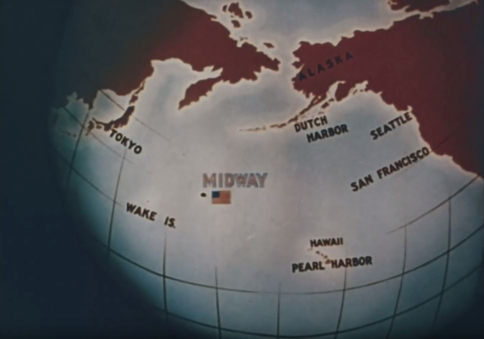 An illustration of a globe showing the island of Midway situated between Japan and Hawaii.