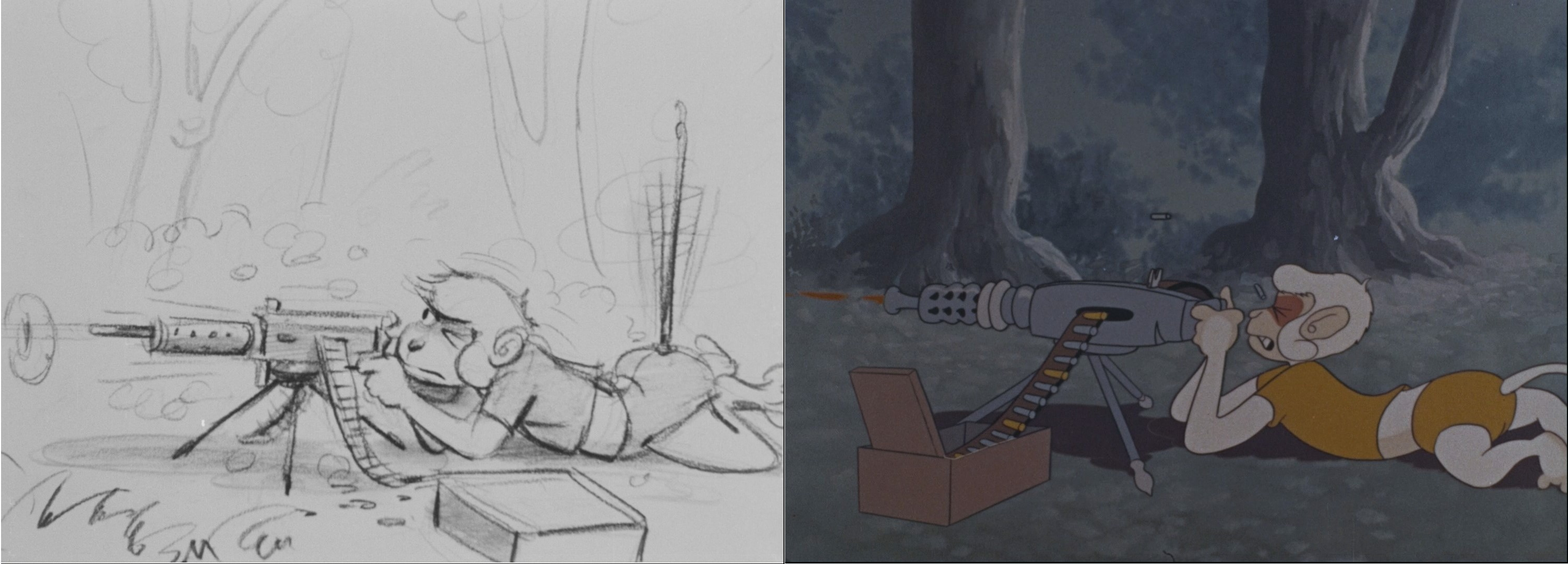 A storyboard image alongside the final product. (Source: 306.2091A and 306.2091)