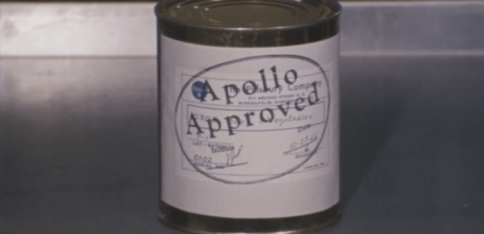 "Close up of a can of Pillsbury space food. Label reads ""Apollo Approved."""