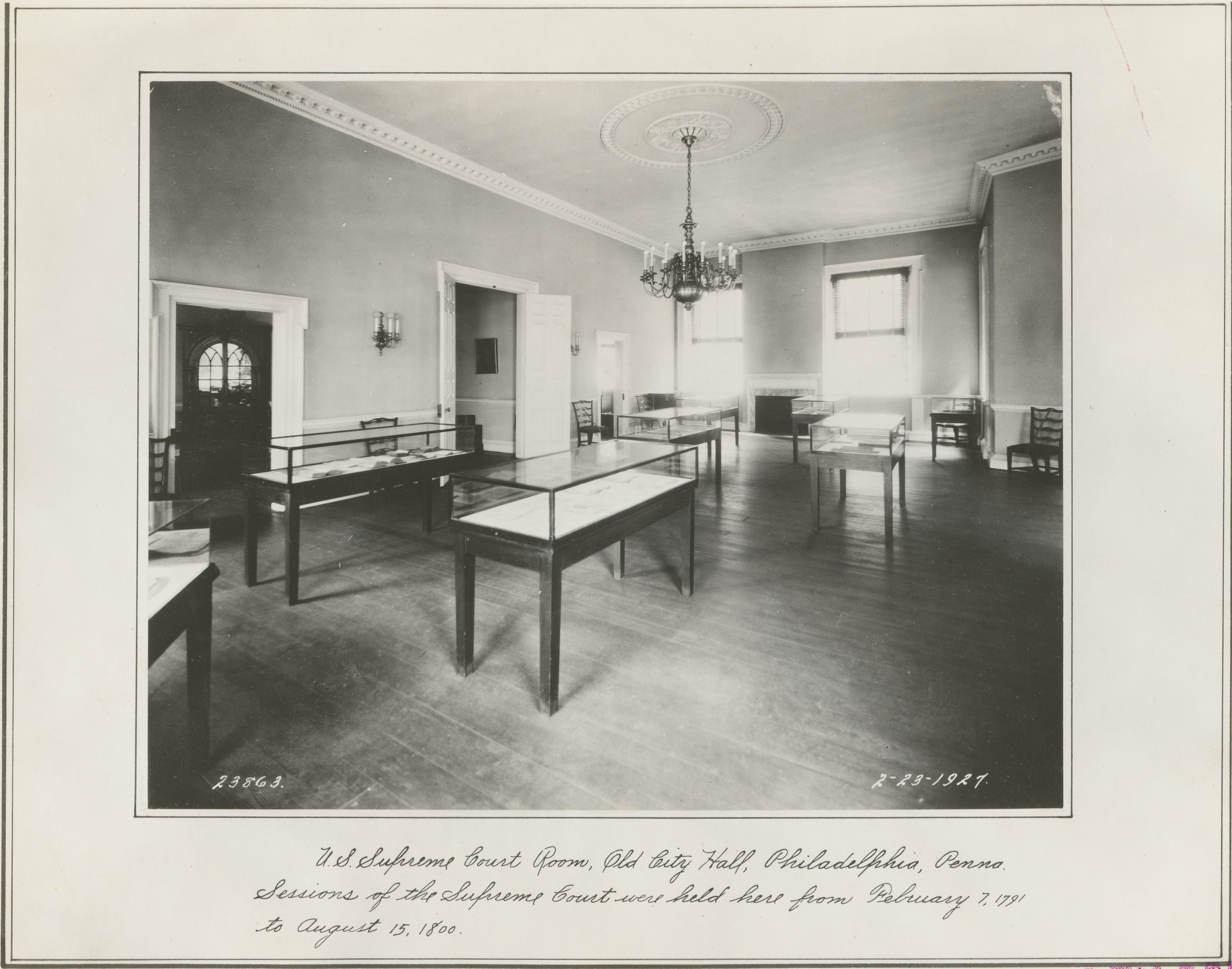 Supreme Court chamber in Philadelphia's Old City Hall in 1927, long before the Bicentennial renovation. Original caption: U.S. Supreme Court Room, Old City Hall, Philadelphia. Sessions of the Supreme Court were held here from February 7, 1791 to August 15, 1800. (Local identifier: 30-N-40-36)