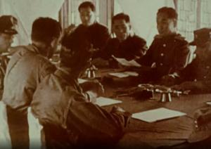 Allied and North Korean representatives negotiating an armistice in Panmunjon, Korea.