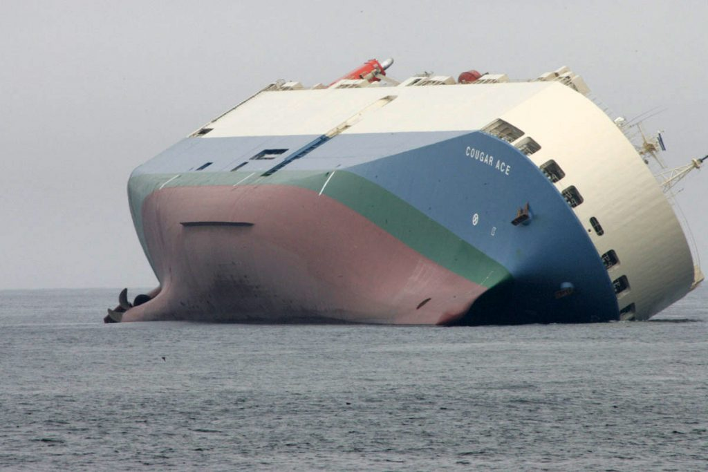 The ship, Cougar Ace, has been listing since problems arose during a required open-sea transfer of ballast water on July 23rd, 2006.